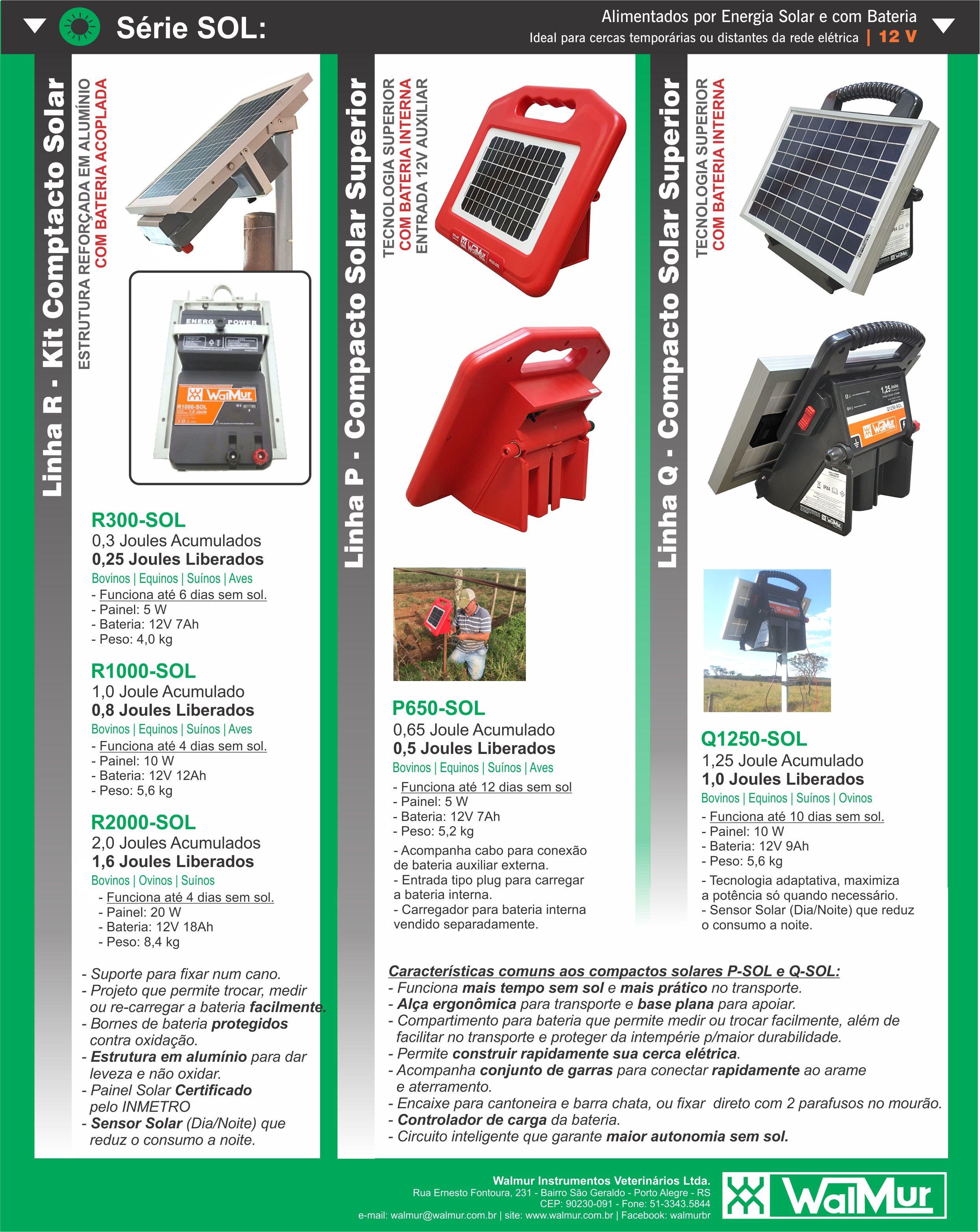 Alimentação por energia solar (com painel solar e bateria interna)